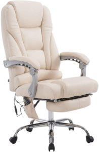 fauteuil massant chauffant en cuir beige